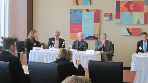 Behind the Headlines Jobs event held at Foley & Lardner.  Panelist Mary Isbister, Mike Lovell, Melanie Holmes & Jonathan Barry.