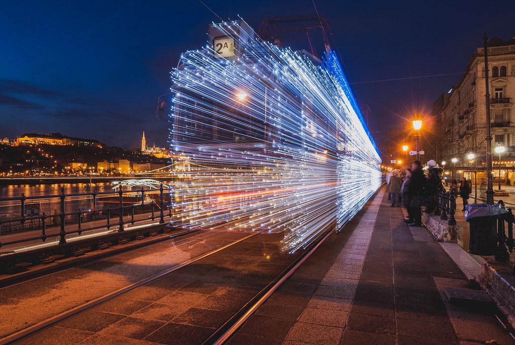Fényvillamos / Christmas Light-Tram in Budapest