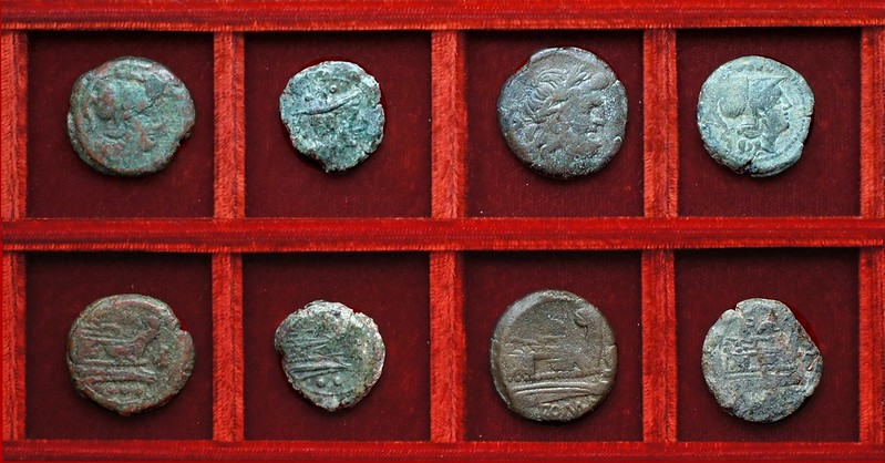 RRC 159 fly bronzes, RRC 160 dolphin third series bronzes, Ahala collection, coins of the Roman Republic