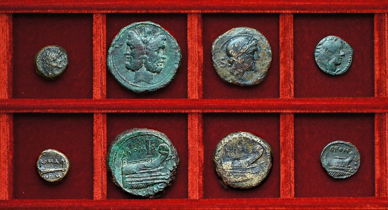 RRC 289 M.CIPI M.F. Cipia quadrans, RRC 290 C.FONT Fonteia bronzes, Ahala collection, coins of the Roman Republic