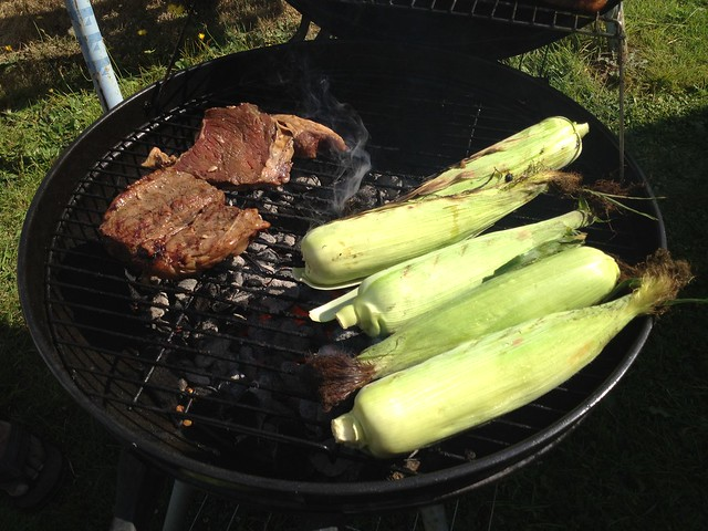 BBQ'ing steak and corn on the cob