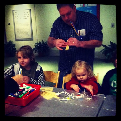 Louis, Daddy and Julia making crafts!