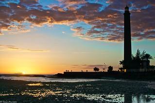 Image of Playa de Maspalomas near Playa del Ingles. sunset sea atardecer mar
