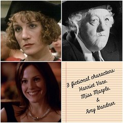 Bandwagon, me jumping on. Harriet Vane, brilliant early feminist in Dorothy Sayers' Peter Wimsey novels (80's miniseries is good, too); Miss Marple, any, but Margaret Rutherford particularly; and Amy Gardner, loud and proud feminist from the West Wing. #3