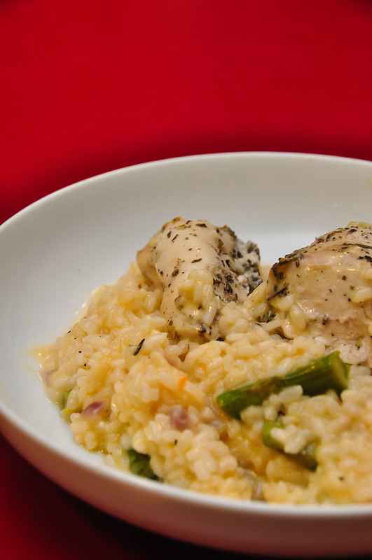 Roast Asparagus Risotto with Wensleydale and Red Leicester cheese, served with foil roast herbed chicken breasts