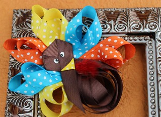 thanksgiving turkey boutique Hair Bow 031