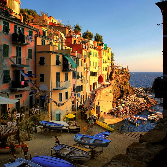 Riomaggiore where small boats go night fishing for anchovies