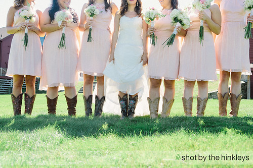 pink bridesmaids dresses   Pale Pink Bridesmaid Dresses With Cowboy Boots