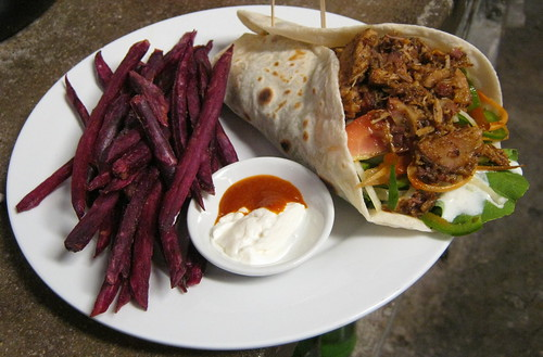 pork souvlaki w/purple sweet fries & sriatchi mayo