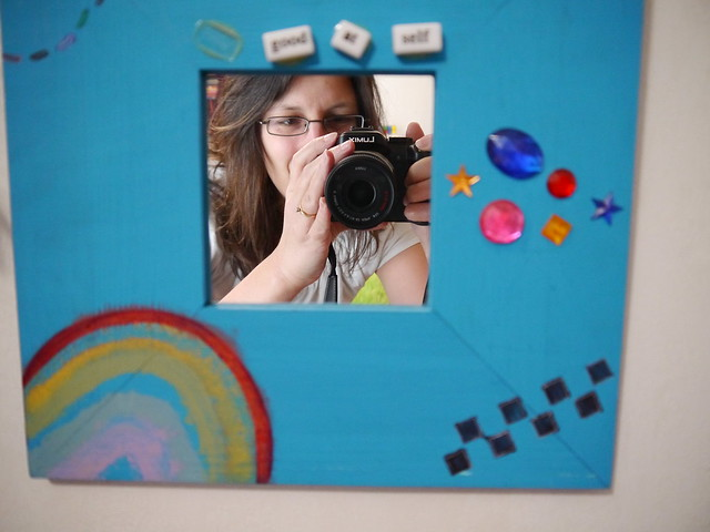 me in a mirror my daughter made! Hello!