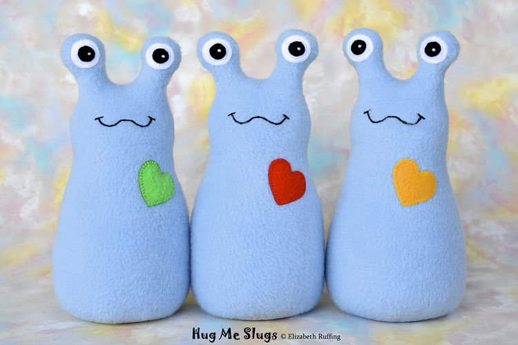 Slugterra and light blue fleece Hug Me Slugs, original stuffed animal art toy by Elizabeth Ruffing