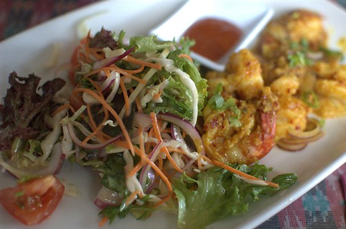 Garlic & Chilli prawn with Nepalese salad