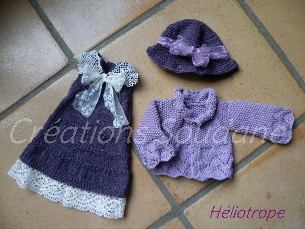 Héliotrope handknitted outfit for Kaye Wiggs dolls