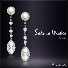 Sakura wishes earrings white
