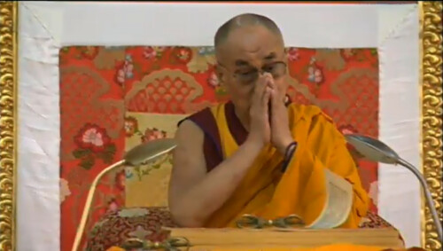 His Holiness the Great 13th Dalai Lama making initial universal prayers, 18 Great Stages of the Path Commentaries, webcast, Dharamasala, India by Wonderlane