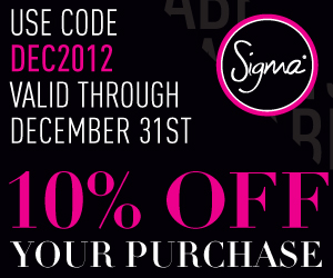 Sigma Beauty discount coupon code sale sales December 2012 10% % off