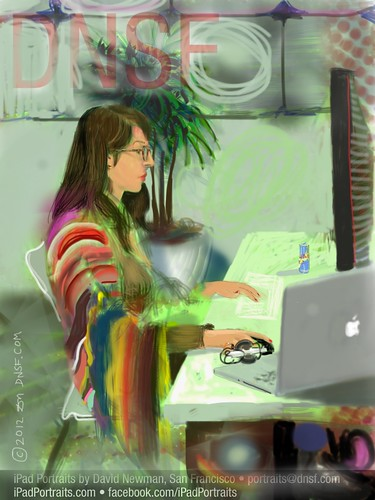 iPad Portrait of Marina Guerra at the Windows 8 Hackathon at Facebook HQ  Today by DNSF David Newman