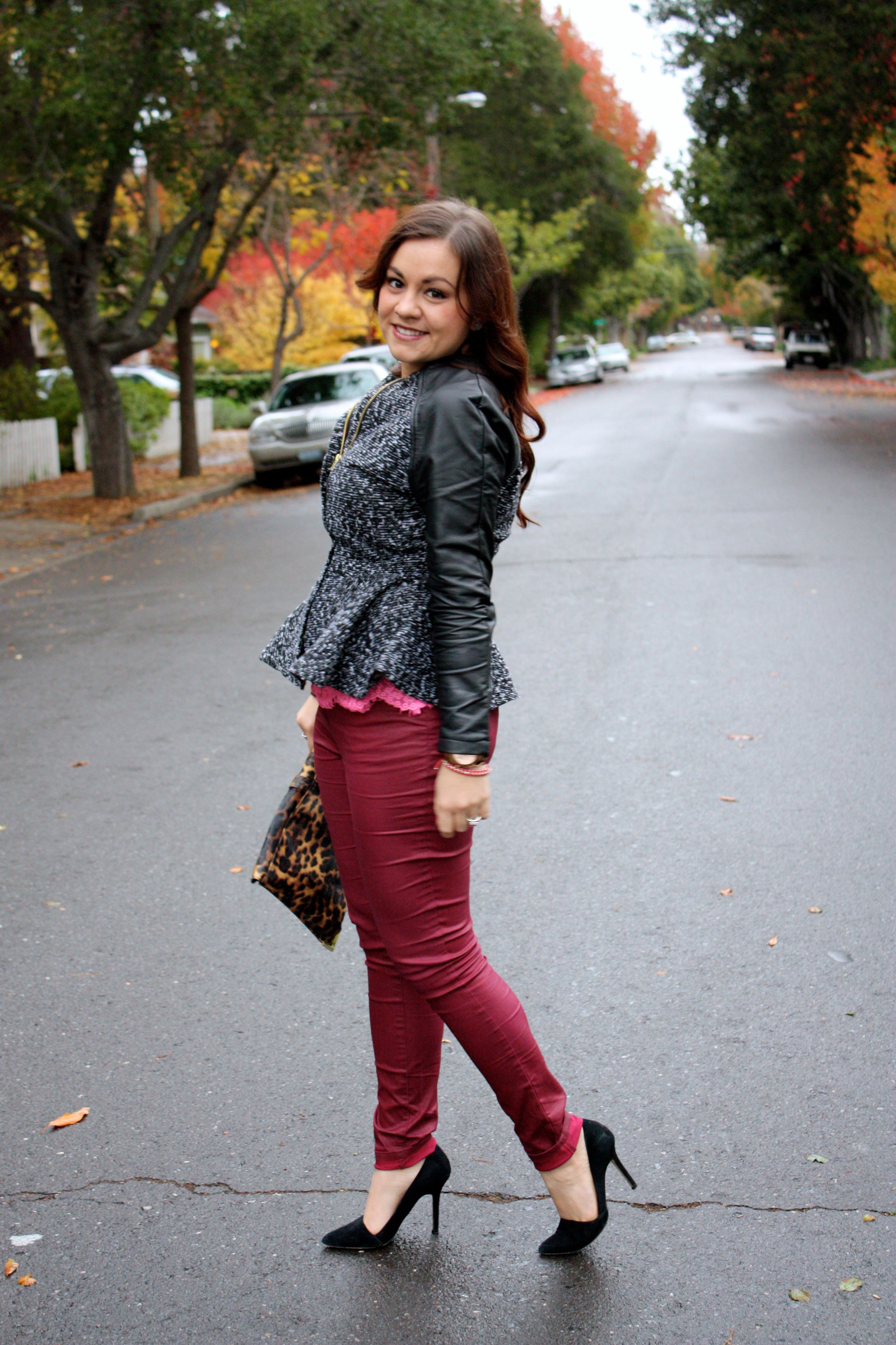 neon lace top - burgundy waxed jeans - tweed and leather peplum jacket - leopard envelope clutch12