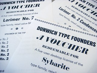 License vouchers for Sybarite, Lorimer No. 2, and Lorimer No. 2 Condensed fonts