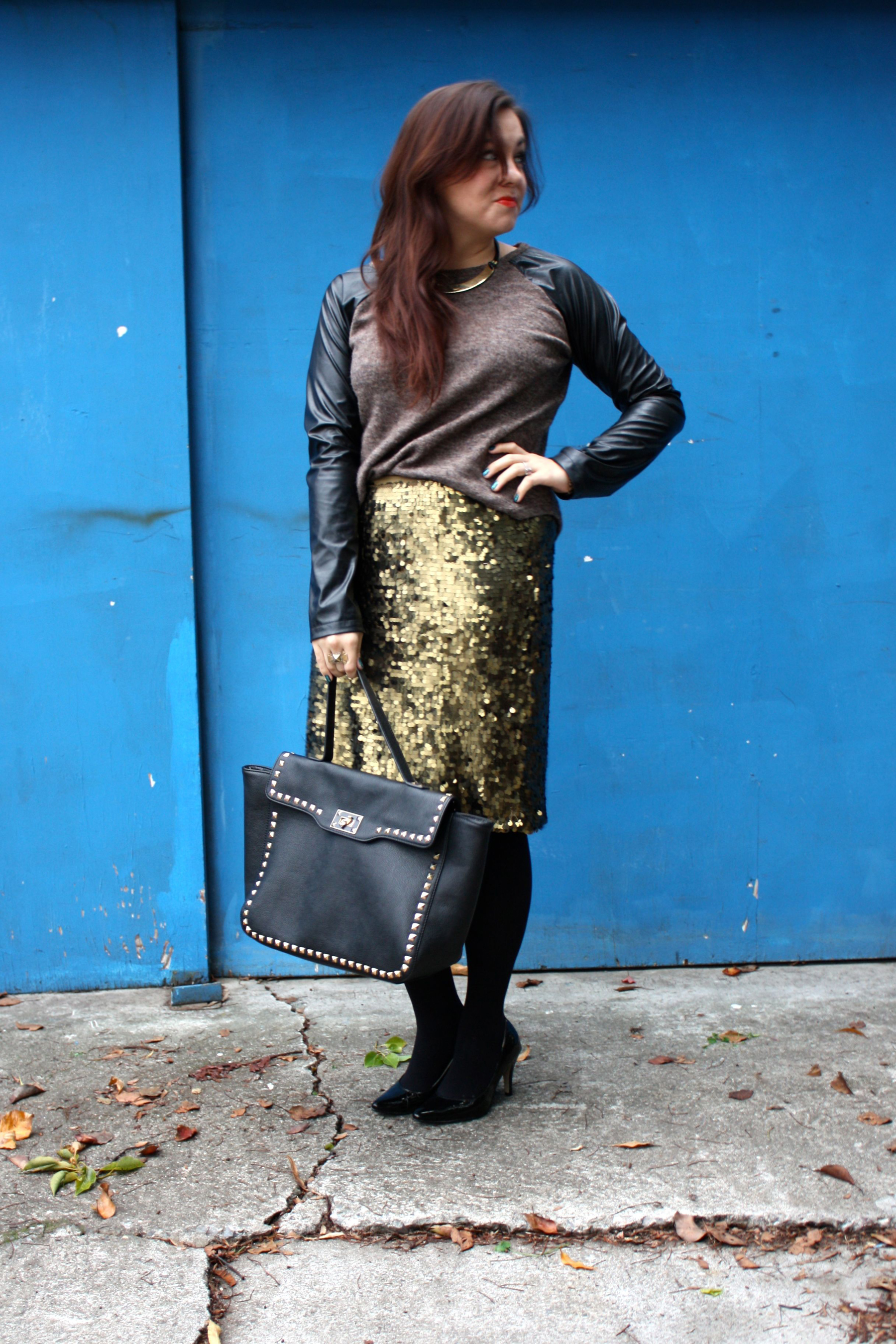 sequin pencil skirt - leather sleeve raglan sweater - studded trim tote - tights - ankle boots03