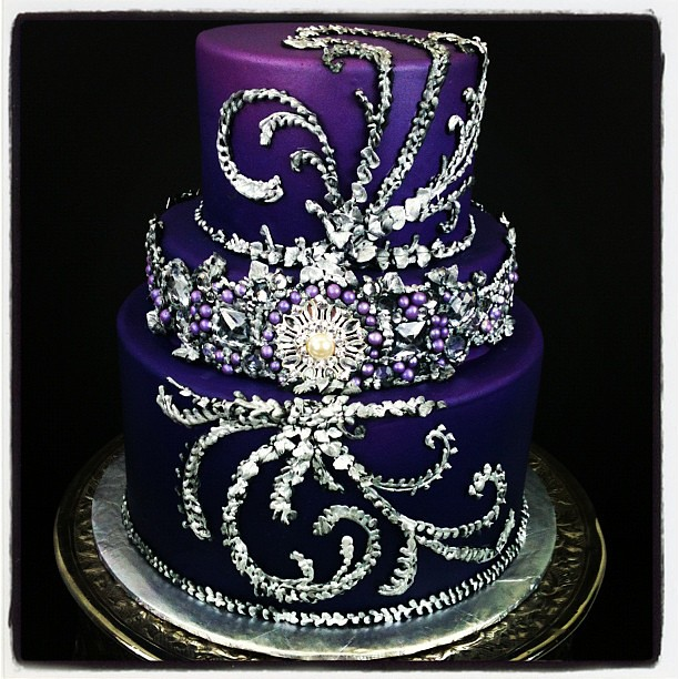 Maybe The Prettiest Cake Ive Ever Made Bling Purple Silver Wedding