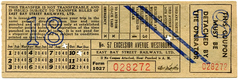 Pre-1936 East Bay Street Railways No. 57 Excelsior Avenue Transfer