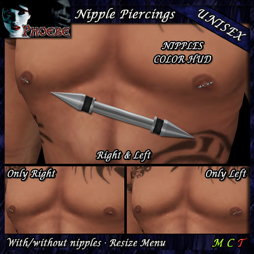 $55l ~ *P* Spikes Nipple Piercings ~Unisex~ Nipples Color Hud