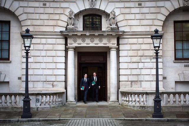 George Osborne leaves HM Treasury to deliver the Autumn Statement