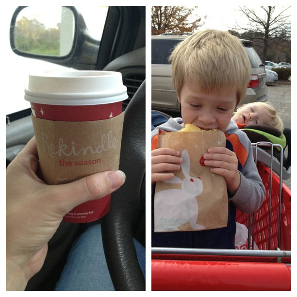 "Our ""yay! we made it through another week!"" and a trip through Target treat. Peppermint Mocha :)"