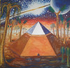 The Cydonia pyramid by the time there was life on Mars watercolor painting - Piramida din zona Cydonia pe vremea cand exista viata pe Marte pictura acuarela
