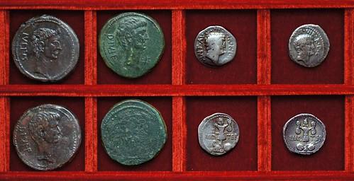 RRC 535 CAESAR DIVOS IVLIVS Octavian Julius Caesar, RRC 536 M.ANT IMP TER Antony, Ahala collection Roman Republic