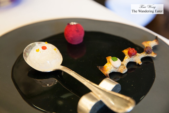 "Amuse bouches - Ginger jelly ""balloon"", raspberry truffle, toast with olive paste, tomato and goat cheese and basil"