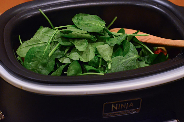 Spinach is added to the ninja.