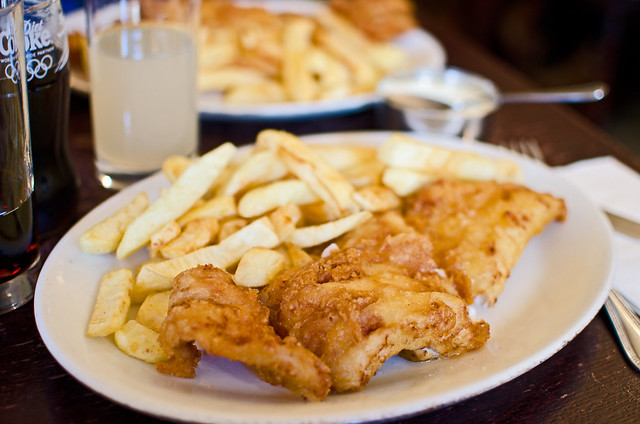 Delicious fish and chips from the Golden Hind in London.
