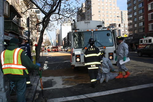 Sanitation truck leak at 11 St. and 3 Ave.