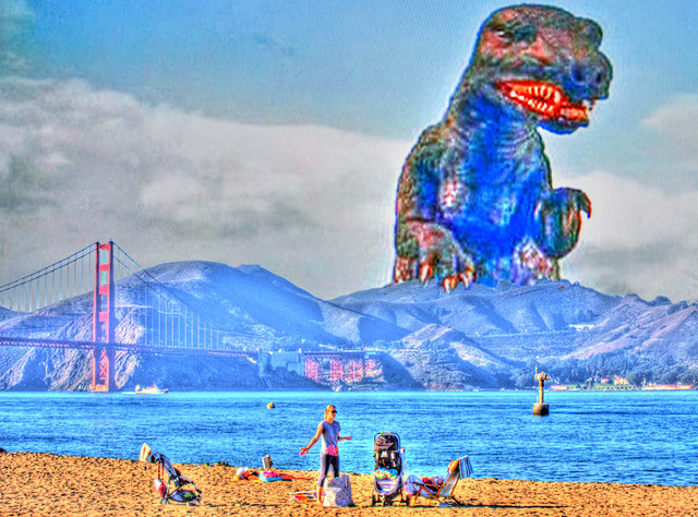 An Afernoon at the Beach, withT-Rex, HDR Montage