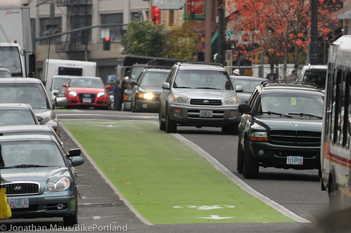 Green bike lanes Stark and Oak-10
