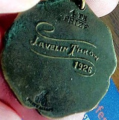 Medal back -- 4th prize, javelin throw, 1926.