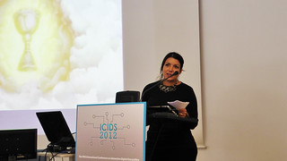 Me giving invited talk: The Grails of Interactive Story Telling at ICIDS'12