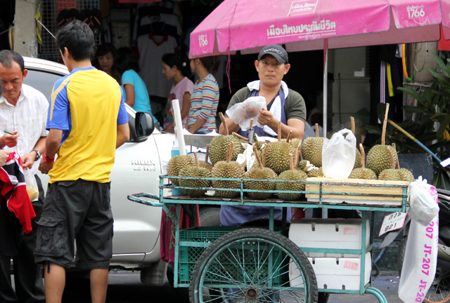 Durian cart vendor on the streets of Bangkok