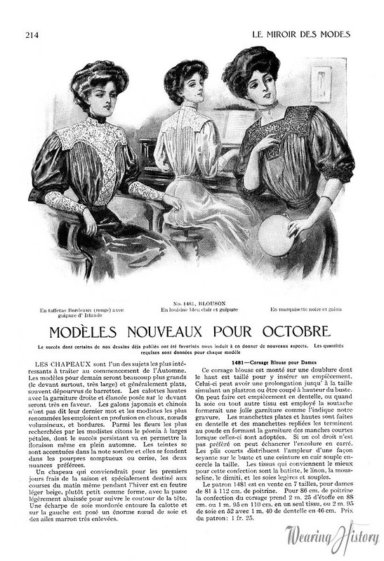 Miroir des modes october 1907 blouses wearing history for Miroir des modes value