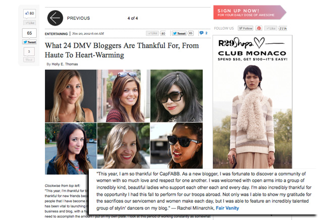 Refinery29, November 2012, fair vanity, 24 DMV bloggers share what they are thankful for