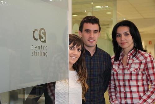 Marta Cordón, Igor Barreno y Carolina Costa, del Centro Stirling.