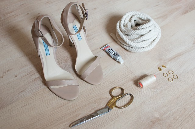 DIY knotted rope heels 1