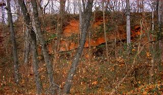 Image of Seneca Quarry near Lowes Island. redsandstone senecamd roncogswell redsandstonequarysenecamd remaiinsofthe19thcenturysenecamdredsandstonequarry thesmithsoniancastledc