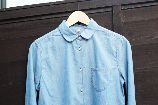 Levi's Made and Crafted chambray denim shirt with multi-coloured thread