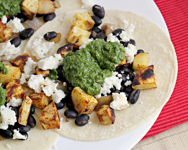 Sweet Potato and Black Bean Tacos with Swiss Chard Pesto | Joanne Eats ...