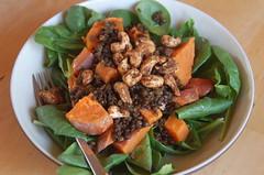 Roasted cashew, sweet potato, curried lentil salad