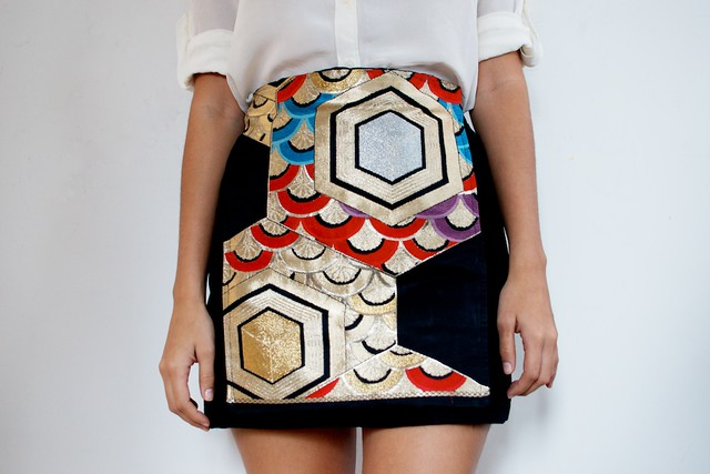 DIY japanese obi panel skirt 1