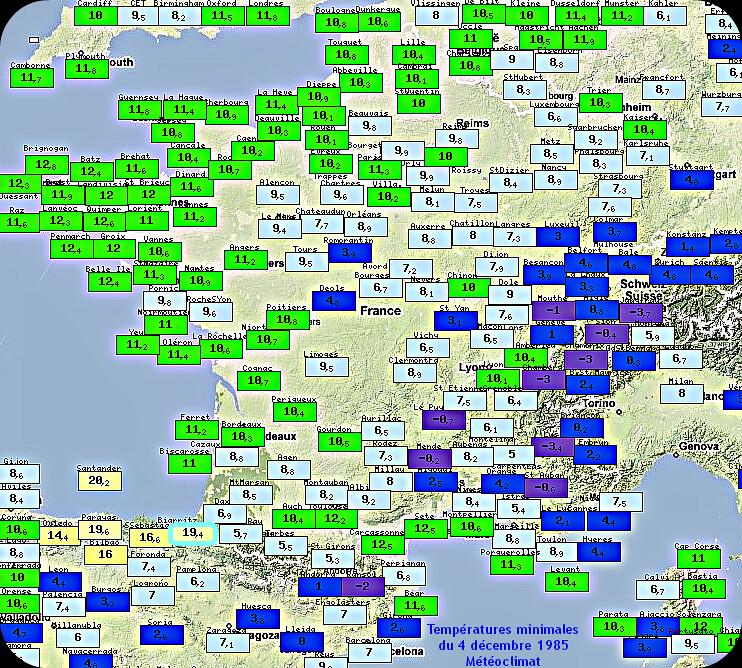 températures minimales très douces du 4 décembre 1985 météopassion
